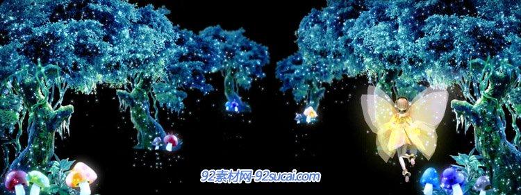 梦幻森林粒子小天使飞舞 LED舞台背景动态视频素材