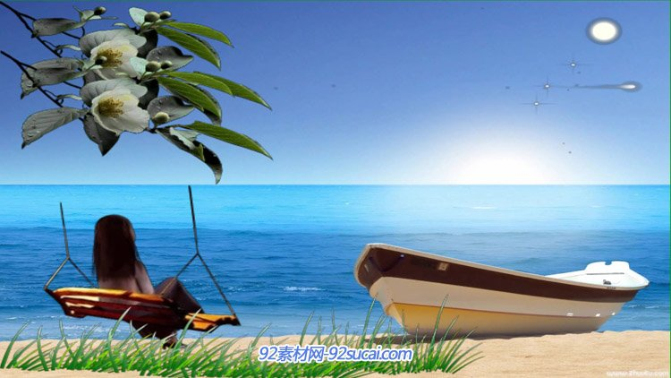 幸福童年安适海边假日荡秋千 沙滩小船海天相接动态舞台背景视频