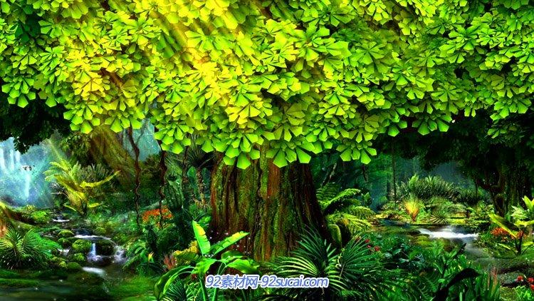 唯好梦幻的丛林小溪大树 高清LED舞台配景静态视频素材