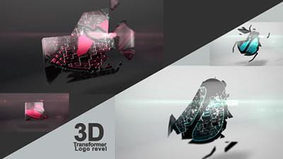 AE模板 3D三维样式拼接合成LOGO标志闪烁图标展示 AE素材
