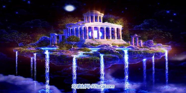 天空之城紫色城堡仙境梦幻 神仙台瀑布流水唯美舞台背景动态视频