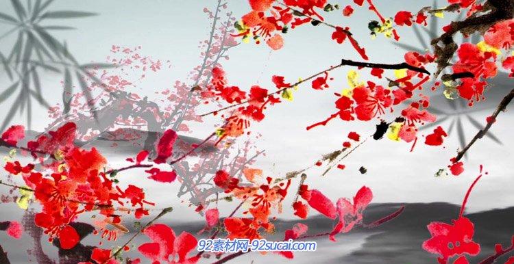 中国风水墨红梅情怀背景视频 花瓣竹叶舞台背景动态视频素材