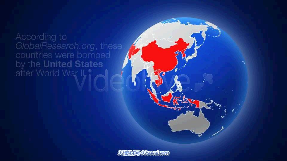 AE模板 列国分层改色三维旋转地球静态展示 AE素材