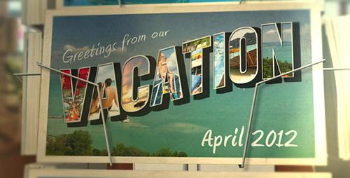 AE模板 家庭旅游电子相册明信片动态展示 AE素材