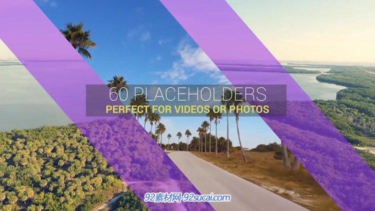 AE模板 简洁快速分割屏幕图片视频展示模板 AE素材