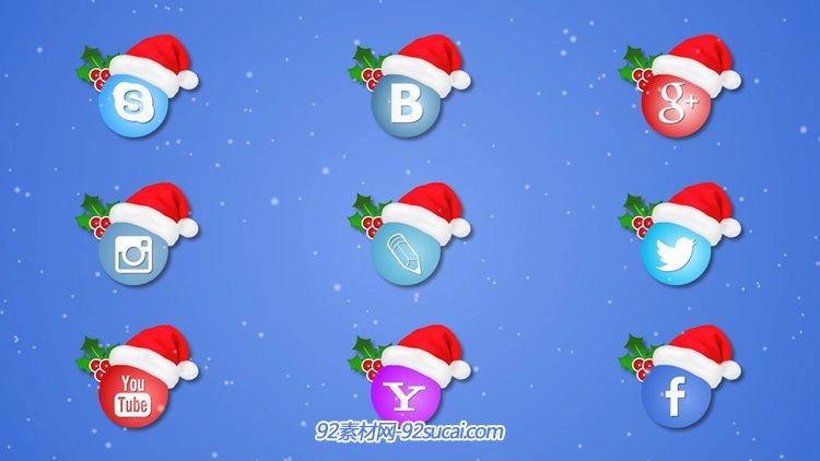 AE模板 9个可爱的社交软件圣诞动态图标 AE素材