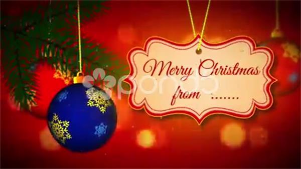 AE模板 简洁冬季圣诞节快乐祝福问候悬挂字幕模板 AE素材