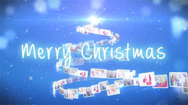 AE模板 唯美圣诞树形状螺旋环绕相册展示模板 AE素材
