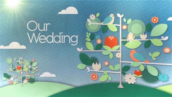 AE模板 清新淡雅蝴蝶飞舞花鸟绿树穿插结婚相册展示模板 AE素材