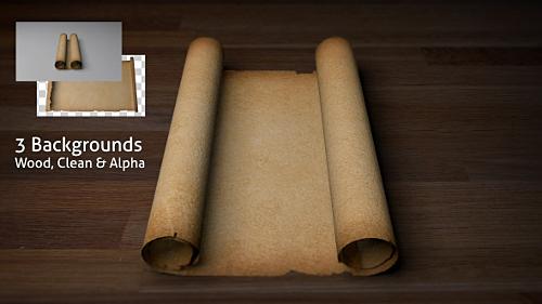 AE模板 古老破旧羊皮纸卷轴摊开动画展示模板 AE素材