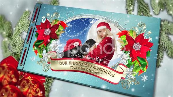 AE模板 唯美圣诞节书本翻页拼图特效相册展示模板 AE素材