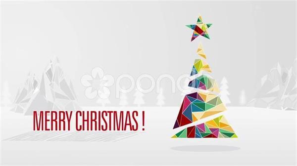 AE模板 创意简洁三角板拼图圣诞问候祝福模板 AE素材