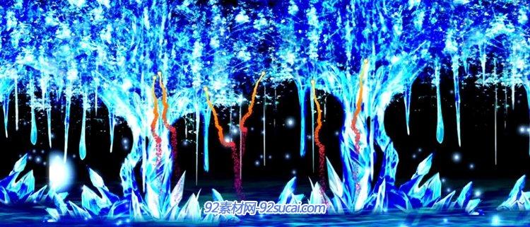 水晶大树上空城市名称烟火四射炫彩粒子瀑布水晶花朵揭幕背景
