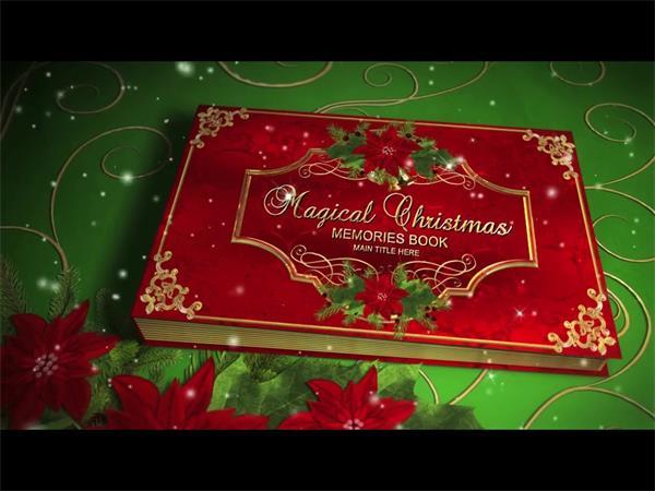AE模板 唯美雪花飘荡星光闪耀圣诞相册翻页展现模板 AE素材