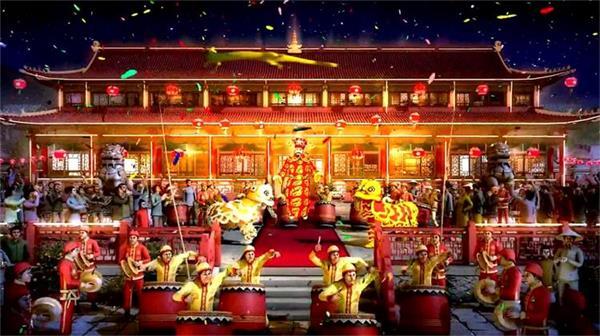 古代百姓春节敲锣打鼓舞狮放炮 金龙浮空财神爷发红包欢庆动画