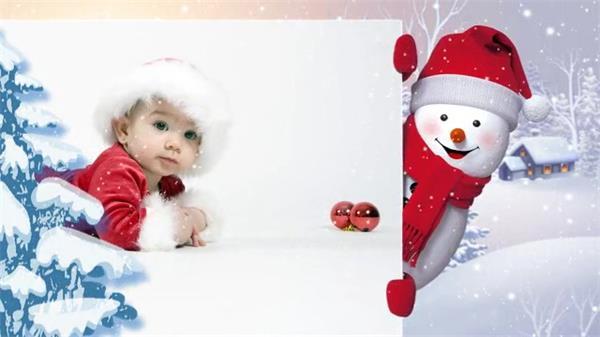 AE模板 Q萌3D卡通雪人冬季圣诞相册展示模板 AE素材