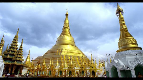 緬甸旅游風景名勝仰光大金塔自然環境 佛教信徒民眾生活高清實拍