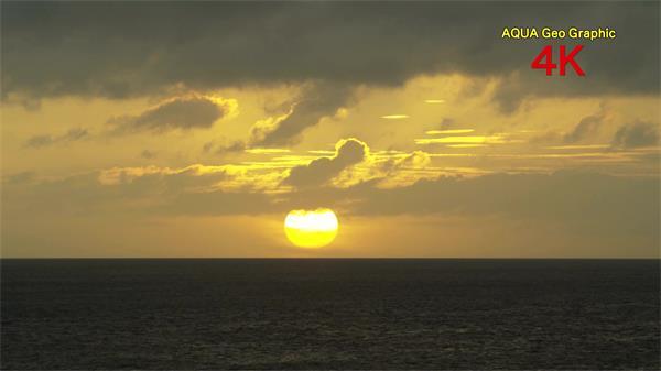 广阔碧海蓝天夕阳沉入地平线 唯美沙滩海浪涟漪椰树红花超清实拍