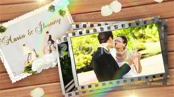 AE模板 浪漫簡潔彩虹環炫光膠卷相框相冊展示模板 AE素材