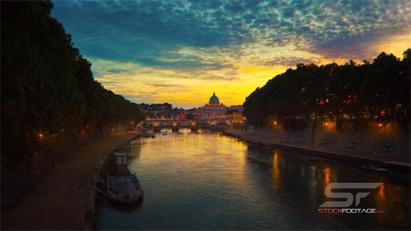 罗马城市建筑风貌名胜风景人文风情 车流人流船流超清延时实拍
