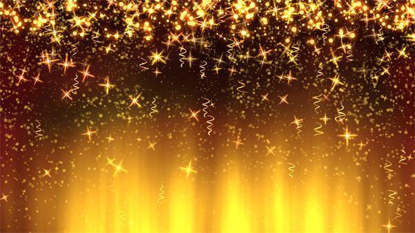 美轮美奂闪亮金色丝带星光耀斑下落高清背景视频素材