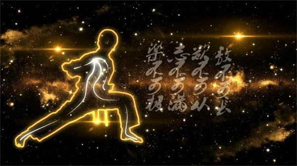 震撼大氣中國武術書法八卦 太空繁星隕石星體背景視頻素材