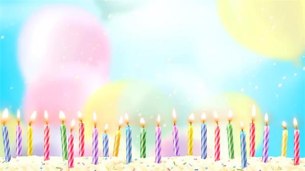 唯美生日蛋糕彩色蠟燭雪花氣球 生日祝福慶生高清視頻素材