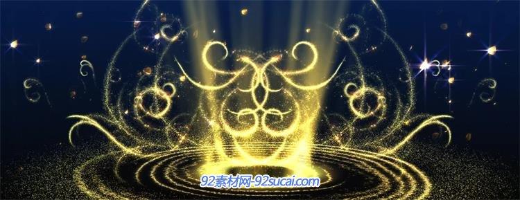 梦幻唯美金色粒子光圈流线花瓣飘舞led背景视频素材