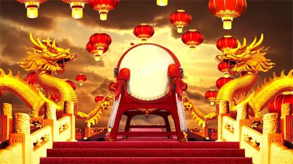 震撼大气中国风双龙伐鼓灯笼飘浮LED配景视频素材