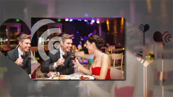 AE模板 浪漫唯美爱心情人节婚礼相册展示模板 AE素材