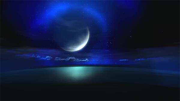 唯好梦幻玉轮海面深奥星空 缥缈薄雾LED高清配景视频素材