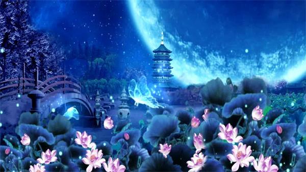 唯美夢幻花好月圓西湖雷峰塔 蝴蝶起舞星點飄浮LED高清背景視頻