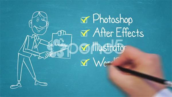 AE模板 简约速画卡通人物企业宣传自我介绍展现模板 AE素材