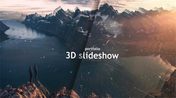AE模板 3D平面重影飘浮杂物幻灯片展现模板 AE素材