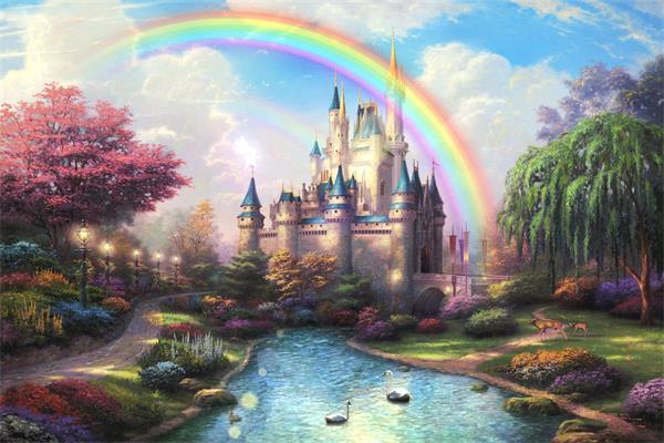 唯美梦幻彩虹城堡精灵飞舞天鹅戏水 光晕粒子led高清背景视频素材