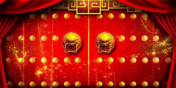 喜庆中国风红帘粒子回纹开门红 企业年会晚会led高清配景视频素材