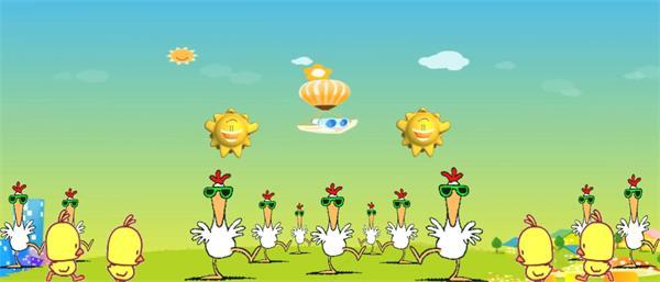 卡通可爱太阳小鸡齐舞 儿童欢庆舞台表演背景视频素材