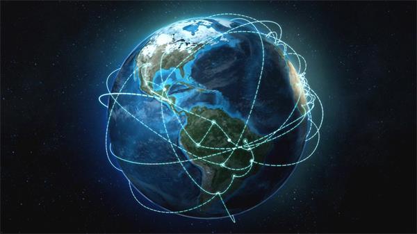 虚线流光线条弹跳延伸旋转地球高清背景视频素材