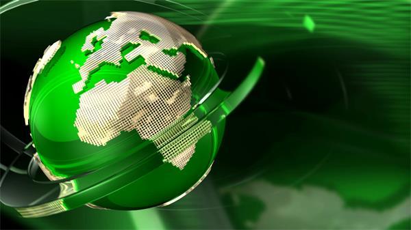 绿色圆环环绕旋转地球高清背景视频素材