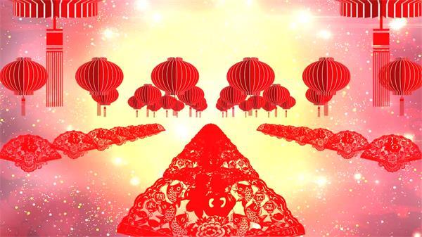 震撼大气喜庆中国风剪艺猴年贺春 企业年会晚会LED高清配景视频素