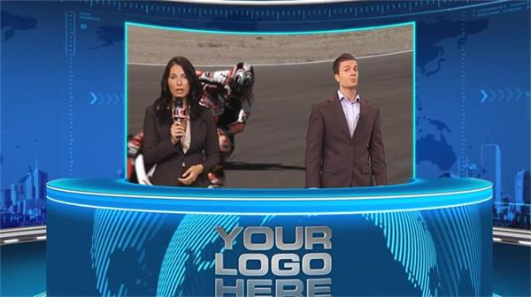 AE模板 華麗炫酷旋轉地球演播室熒屏新聞直播欄目包裝 AE素材