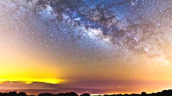 众多星空流星平地丛林云海翻涌 日出旭日天然昼夜景高清延时实拍