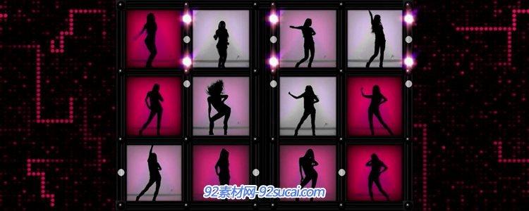 十二宫格婀娜多姿玉人舞蹈姿态投影LED大屏幕舞台配景视频素材