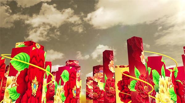 大气喜庆中国风红花藤蔓长方体 新年年会晚会LED高清配景视频素材