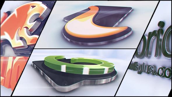 AE模板 大气炫光3D立体层叠动态起伏光滑反光LOGO标志 AE素材