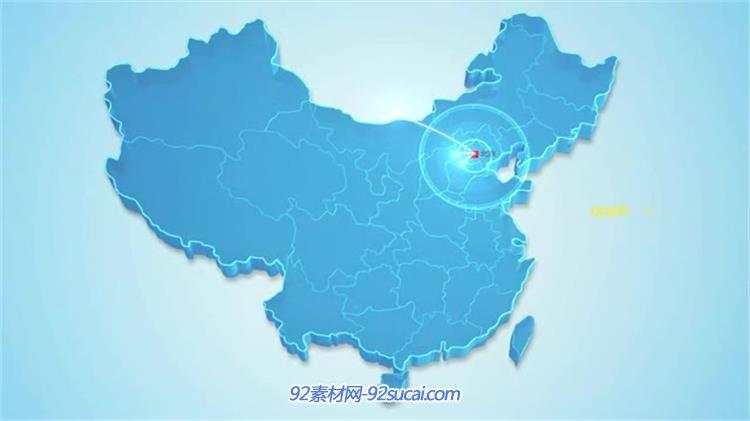 ae模板 中国地图发达城市影响波纹圈线路扩散延伸其他