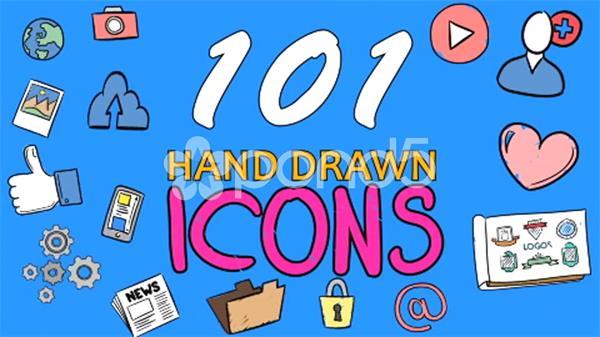 AE模板 101款多场景卡通手绘风格图标动画元素包 AE素材