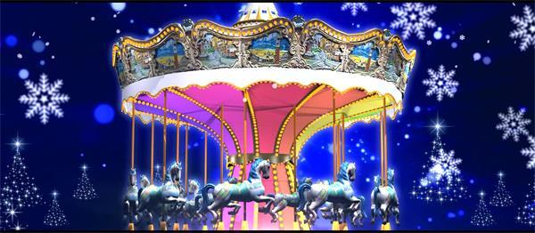 唯美梦幻雪花光晕飘舞圣诞树旋转木马 大屏幕LED高清背景视频素材