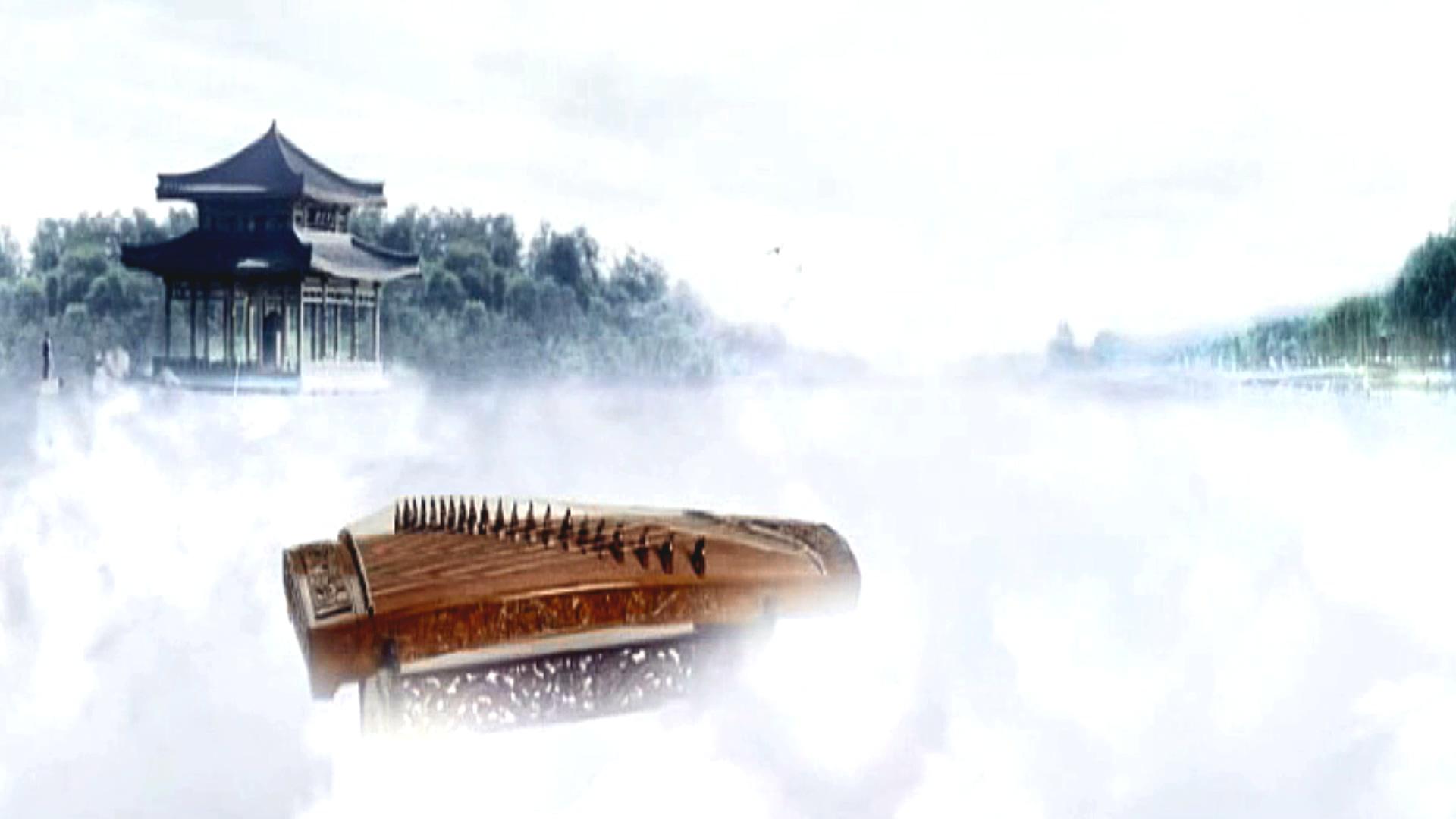 水墨风格梦幻白雾弥漫仙境古筝片尾视频素材