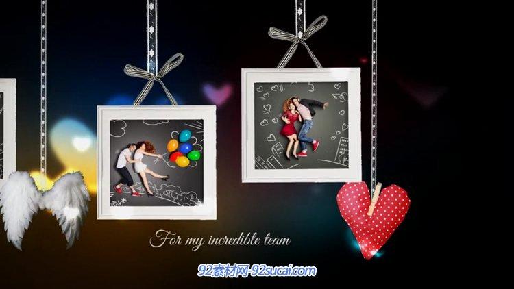 AE模板 白绸丝带下的相片婚庆爱情类图片视频展示模板 AE素材